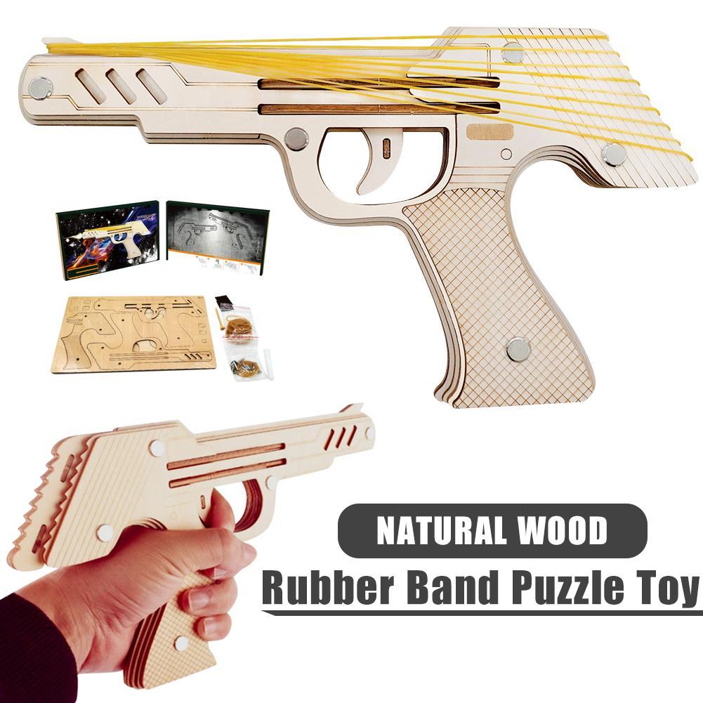 Jiu Lianfa pistolet élastique jouet 3D Puzzle en bois modèle mécanique Kit bricolage Construction machines élastique pistolet jouet