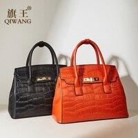Qiwang Luxury Handbags for Women Shoulder Bag Genuine Leather Handbag Crocodile Designer Large Tote 2019 Office Lady Hand Bags