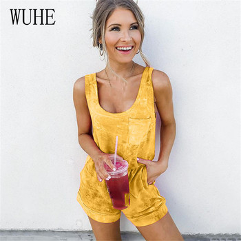 WUHE Women Playsuits Print Summer Casual Vacation Beach Solid Cotton Bodysuits Sleeveless U-Neck Pocket Cool Streetwear Jumpsuit