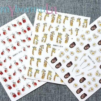 цена на 1pcs Cartoon 3D Nail Stickers Red Cute Fly Birds giraffe ladybug Hedgehog Pattern Adhesive DIY Manicure Tips Nail Art Decal