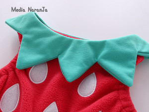 Image 4 - 아기 소녀 의상 딸기 의상 전체 슬리브 romper + 모자 + 조끼 유아 할로윈 축제 purim 사진 의류