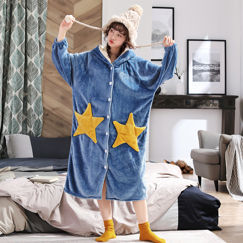 Loose PersonalityThicken Nightgowns Winter Bathrobe Women Pajamas Bath Flannel Warm Robe Sleepwear Womens Robes Gold Velvet Hat