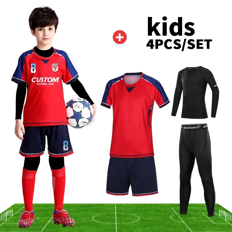4PC/Set Kids Soccer Jersey Custom Boys Football Jerseys Soccer Uniforms Set For Boys Football Team Uniform Breathable Sportswear