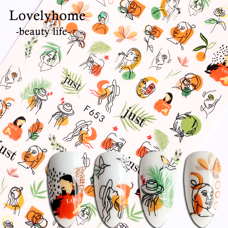 Nail Stickers Mixed Women Face Sketch Abstract Image Sexy Girl Nail Art Self-adhesive Decals Tattoos Sliders Manicure F653