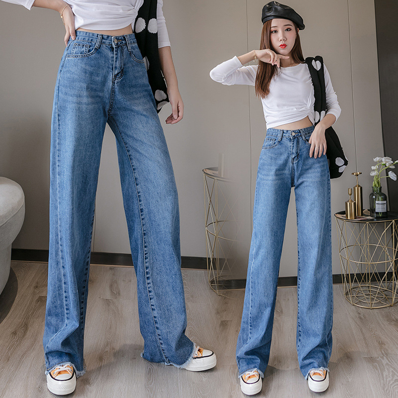 2019 Autumn New Style Retro Drape Wide-Leg Jeans Weep Yafeng High-waisted Women's Slimming Loose-Fit Mopping Trousers