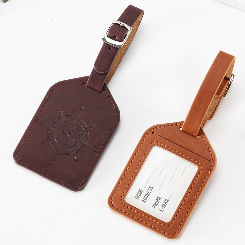 Travel Pu Leather Suitcase Luggage Tag Label Bag Handbag ID Address Holder Travel Accessories Baggage Boarding Pass Luggage Tags