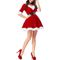 Women Christmas Red Half Sleeve Mother and Daughter Santa Claus Dresses Sexy Plush Hoodie Ball Female Family Dress Costume