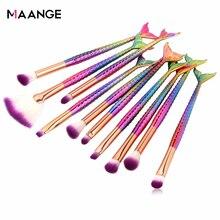 MAANGE 6/10pcs Mermaid Beauty Makeup Brushes Set Cosmetic Eye Shadow Powder Lip BlendMake Up Brush Tool Kit
