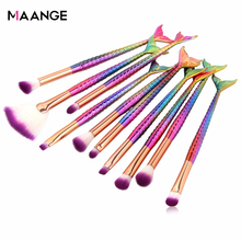 Maange 6/10 個マーメイド美容メイクブラシセット化粧品アイシャドウ粉末リップ blendmake アップブラシツールキット