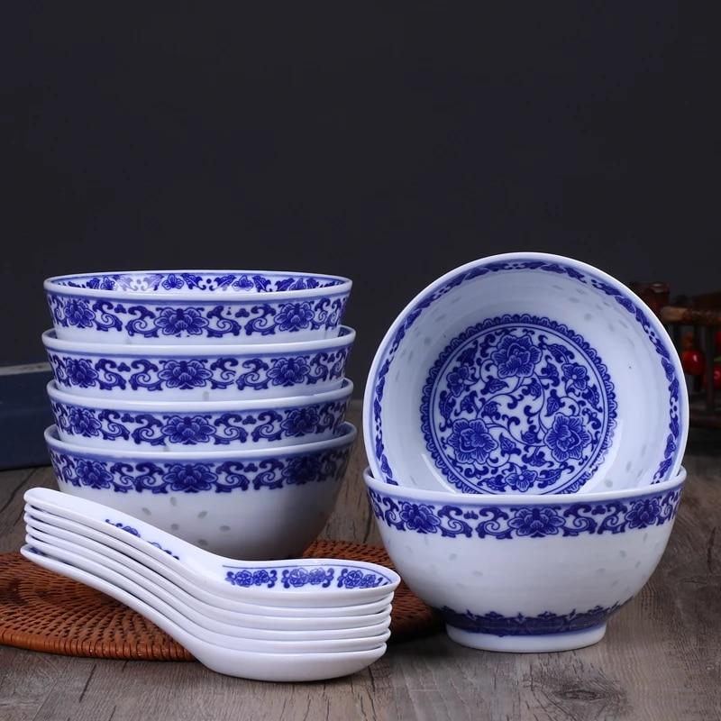 6pcs Lot 4 5inch Jingdezhen Blue And White Porcelain Rice Bowls Ramen Soup Spoon Chinese Dragon Bowl Ceramic Kitchen Accessories Aliexpress