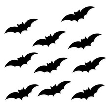 Halloween Decorations 10PCS Black Spiders/Bats DIY Paper Wall Sticker Decals Holiday Party Supplies