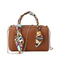 2019 Women Scarf Mini Boston Handbag PU Leather Pillow Pack Sling Shoulder Crossbody Messenger