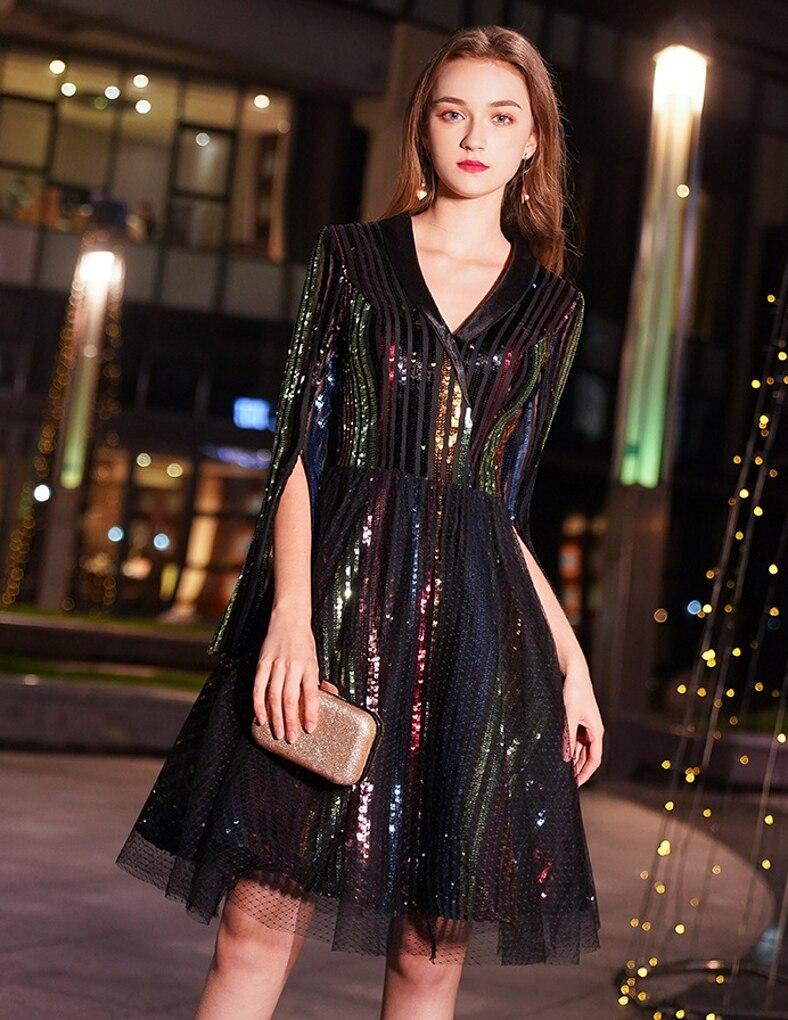 Robe De Soriee Abiye Bling Cocktail Dresses Sequins Tulle Sexy Mini Party Short Dress V-neck Above Knee 2019 New
