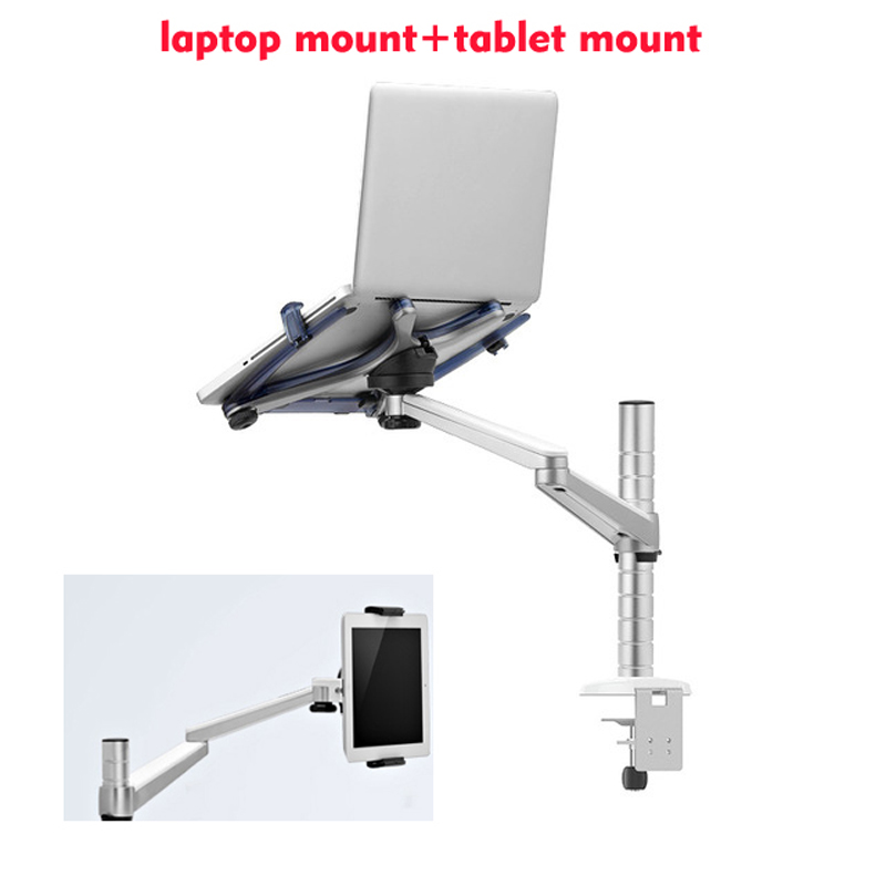 OA-1S Aluminum Dual Arm Swivel LCD Monior Holder+ Laptop Holder Stand Table F 9inch 10inch Pad Desk Mount