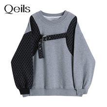 Qeils primavera outono 2021 solto cinza assimétrico emendado moletom novo em torno do pescoço manga longa feminina tamanho grande moda