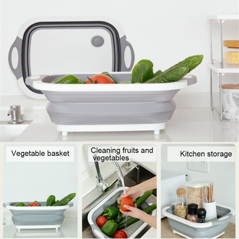 Style-1 Collapsible Fold Cutting Board with Dish Tub Space Save Folding Washing Bowl Draining Basket Basin Sink Colander with Plug Chopping Slicing Board Wash Strainer for Camping Picnic BBQ Kitchen