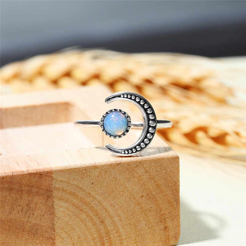 여성 작은 문스톤 오픈 조절 링 실버 컬러 신부 약혼 반지 빈티지 지르콘 스톤 결혼 반지 여성을위한