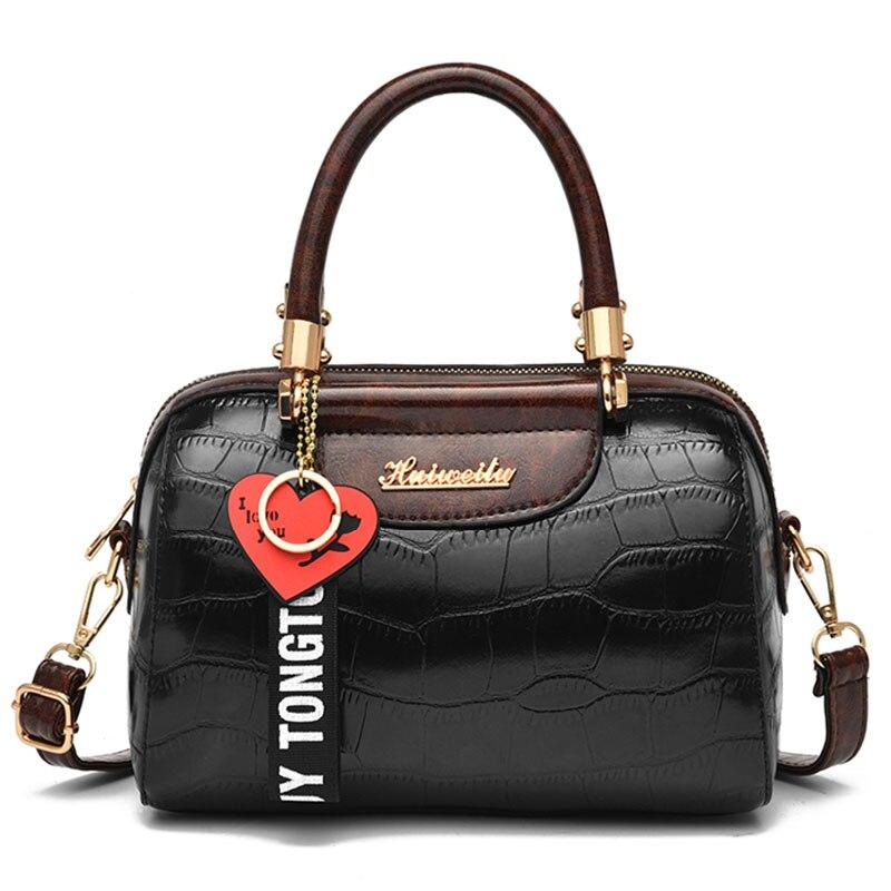 Leather Bags For Women 2020 Handbag Luxury Designer Brand High Quality Stone Pattern  Elegant Zipper Female Shoulder Bag Women