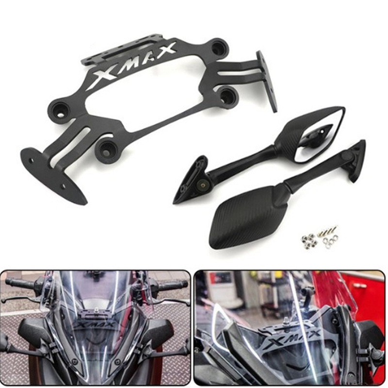 Motorcycle Stand GPS Bracket Mobile Phone Navigation Plate Holder Side Rearview Mirrors Set For Yamaha XMAX 300 400 125 250 2017