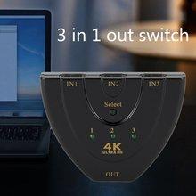 Автоматический переключатель HDMI 4K* 2K мини-разветвитель HDMI 3 в 1 порт концентратор для DVD HDTV Xbox PS3 PS4 1080P переключатель