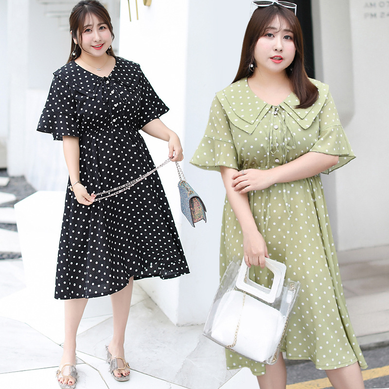 [Shi Ben Rocco] Plus-sized Extra Large WOMEN'S Dress Fat Mm Dress Polka Dot Skirt Peter Pan Collar On Behalf Of A191