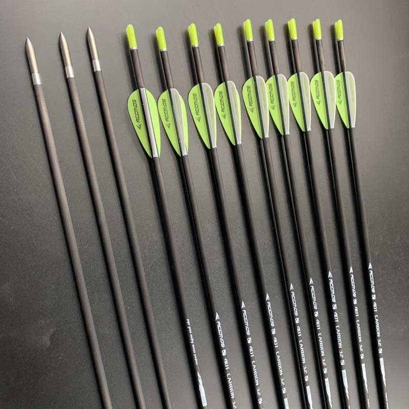 12pcs Hot ID 3.2mm 40T Carbon Arrow  Spine 350 400 450 500 550 600 650 700 750 800 850 900 1000  Archery For Bows Shooting