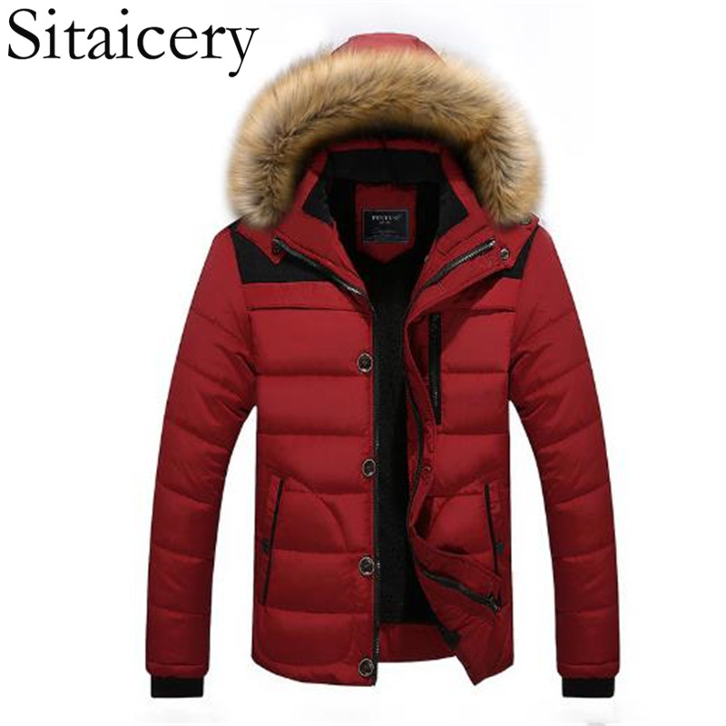 Sitaicery Thick Winter Jackets Men's Coats Male Parkas Casual Thick Outwear Hooded Fleece Jackets Warm Overcoats Mens Clothing