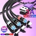 Магнитный кабель Twitch с поворотом на 540 градусов, 3 А, быстрая зарядка, Тип C для iPhone 11 Pro Max 8 7 Plus Xr Samsung Xiaomi, провод для передачи данных, шнур