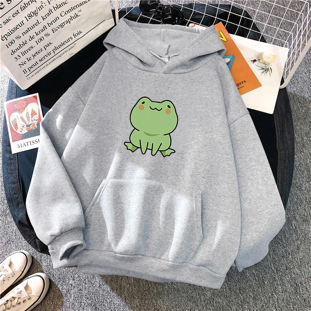Women Hoodies Harajuku Long Sleeve sweatshirt women Cute Animal Frog Printed Hoodie Pocket Casual Pullover Loosen Tops gdragon 12