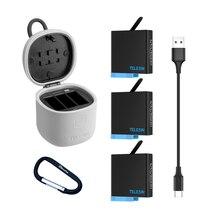 TELESIN decodifica li batteria per Gopro 8 7 6 5 e 3 in 1 caricabatterie scatola di immagazzinaggio card reader per go pro hero 8 5 6 7 hero 8 macchina fotografica