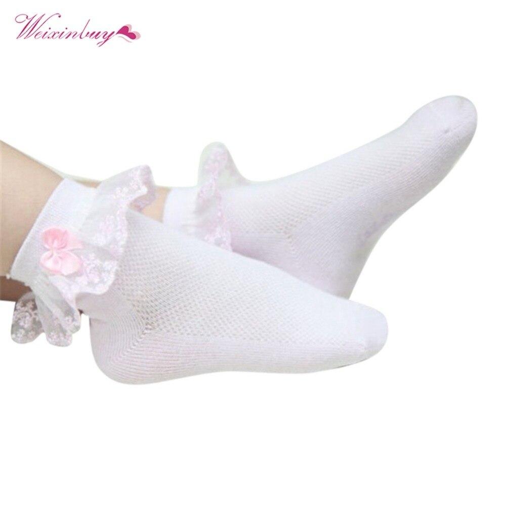 New Retro Lace Ruffle Frilly Socks Baby Girls Kids Princess Mesh Socks Breathable Short Ankle Socks For Girl 1Pcs