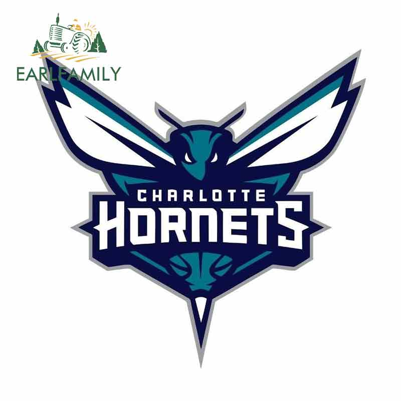 EARLFAMILY 13cm X 12.6cm For Charlotte Hornets Basketball Color Logo Sports Decal Waterproof Car Sticker