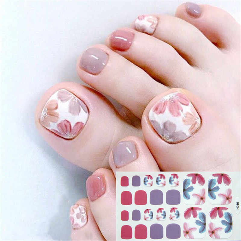 22tips Korea/Japanese Designed Toenail Sticker Full Cover Waterproof Nail Sticker Wraps Toe Nail  DIY Nail Art unas Nail Sticker