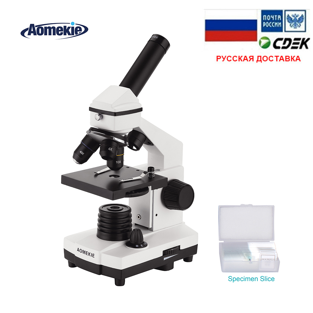 AOMEKIE 64X-640X Professional Biological Microscope Up/Down LED Monocular Microscope For Students Kids Education With Slides