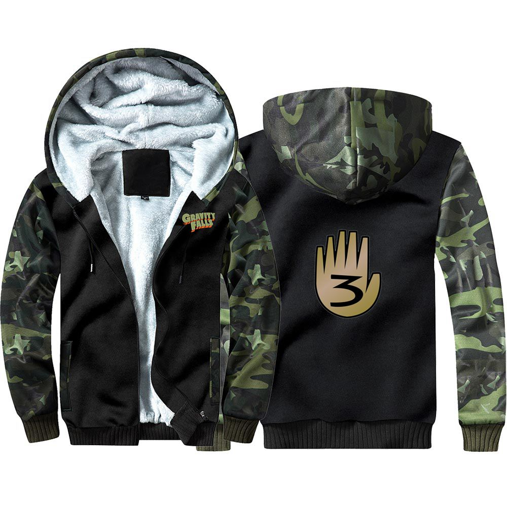 New Gravity Falls Camouflage Hoodie Sweatshirts Winter Thicken Hooded Coat Cosplay Warm Men Clothing