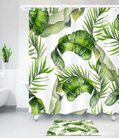 Palm Leaf Banana Leaf Digital Printing Dacron Waterproof Shower Curtain Grant from Generation