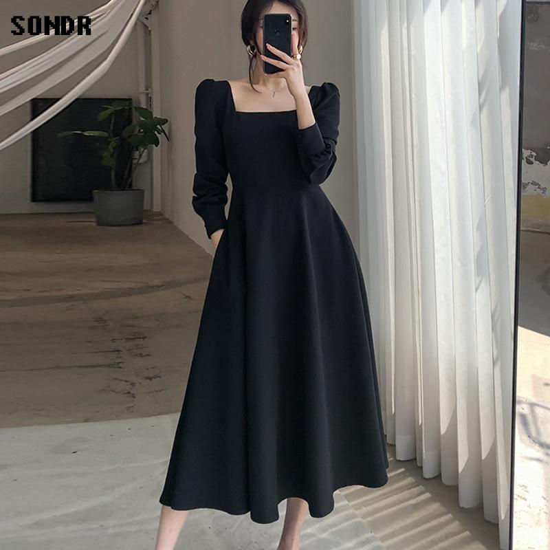 Цельные корейские платья осень 2020 новое французское винтажное платье с длинными рукавами в стиле Хепберн черное платье с квадратным вырезом женские длинные платья|Платья|   | АлиЭкспресс - Трендовые вещи из сериала «Эмили в Париже»