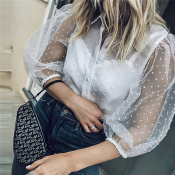 2019 Hot Sale White Transparent Sexy Women Hollow Sheer Mesh Puff Sleeve Blouse Lace Shirt Button Tops Perspective Female Shirt 6