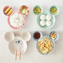 Набор детской посуды из пшеничной соломы мультяшная посуда детские