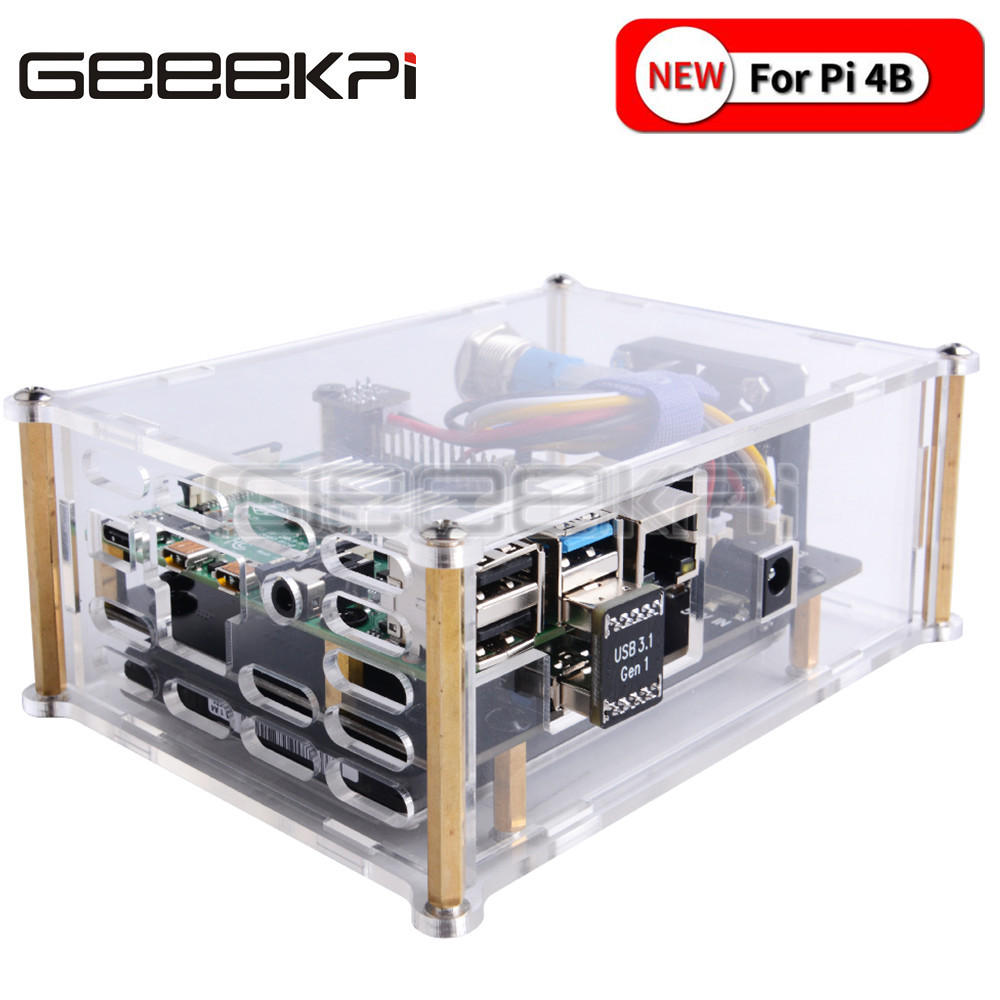 GeeekPi New Version! Raspberry X825 2.5 inch SATA HDD/SSD Storage Expansion Board Acrylic Case for Raspberry Pi 4B ( 4 Model B )