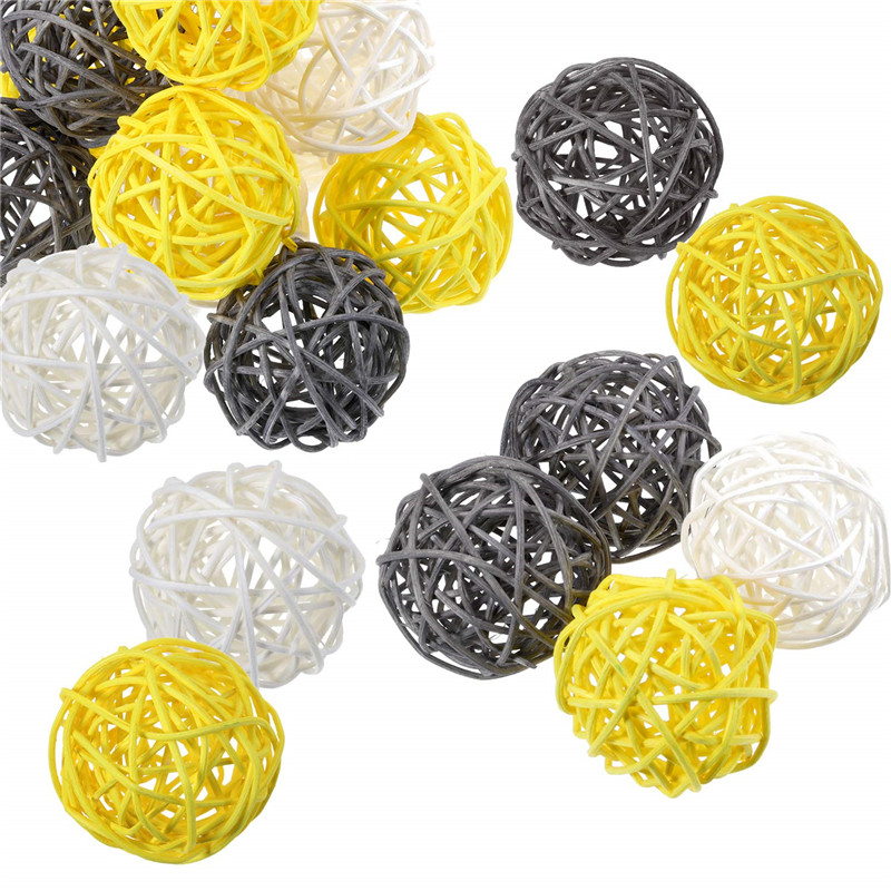 15 Pieces Wicker Rattan Balls Decorative Orbs Vase Fillers For Craft, Party, Wedding Table Decoration, Baby Shower, Aromatherapy