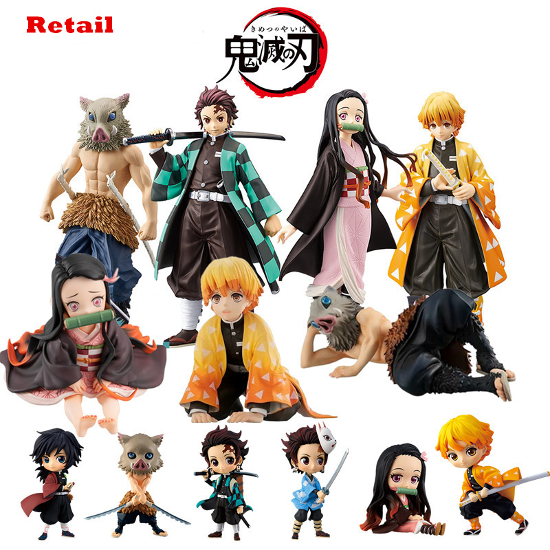 Kimetsu No Yaiba Figure Nezuko Tanjirou Zenitsu Anime Figure Demon Slayer Action Figure PVC Collection Model Toys Gifts 6.5-18CM