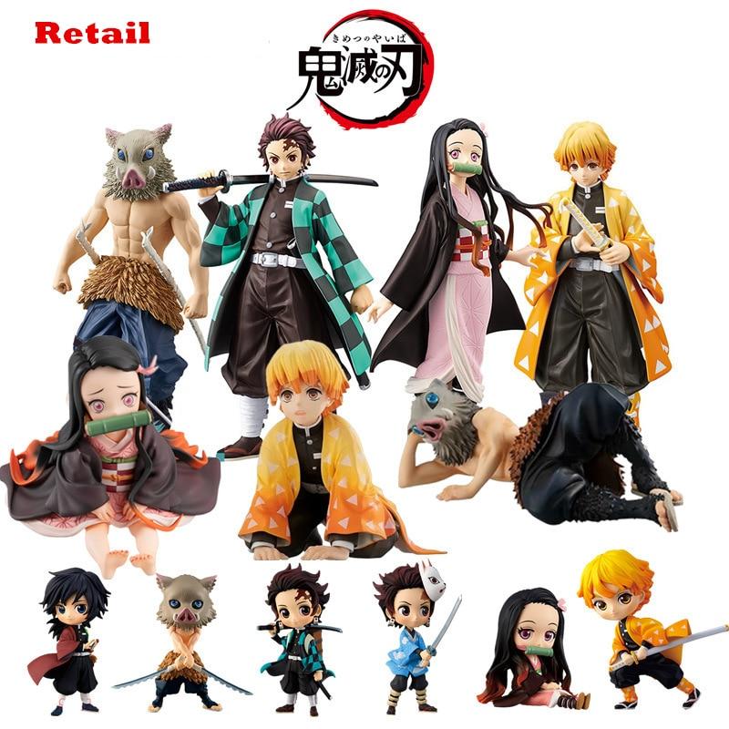 Kimetsu No Yaiba Figure Nezuko Tanjirou Zenitsu Anime Figure Demon Slayer Action Figure PVC Collection Model Toys Gifts 6.5-18CM