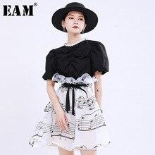 [EAM] High Waist White Pattern Printed Ruffles Elegant Bandage Half-body Skirt W