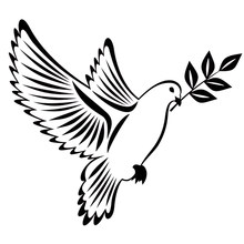 Autocollants en vinyle d'art pour voiture, 16x14.1CM, colombe de la paix avec branche d'olivier oiseaux, accessoires