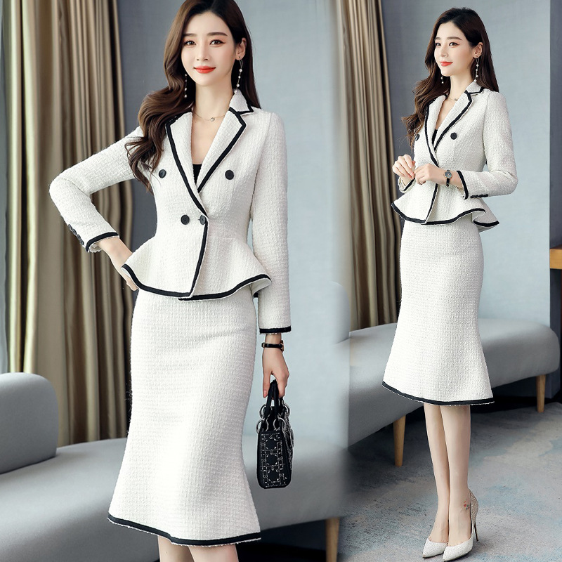 Graceful Sheath Dress Outfit 2019 Autumn And Winter New Style Fashion Slim Fit Business Woolen Suit Skirt Two-Piece Set