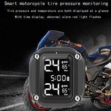 Portátil da motocicleta tpms sistema de monitoramento peças do carro com exibição do tempo ip65 pressão dos pneus ornamentos acessórios da motocicleta