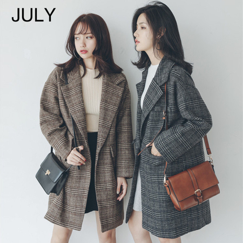 JULY Autumn winter plaid coat jacket female 2019 new loose coat long section women's coat plaid brown coat coat female