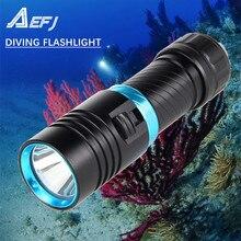 Luz amarilla resistente al agua IPX8, linterna subacuática para buceo de 80M, antorcha, XM L2, lámpara de luz LED blanca