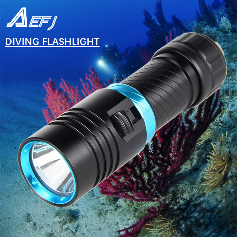 yellow light Waterproof IPX8 Underwater 80M Diving diver Flashlight Torch XM-L2 LED White Light Lamp